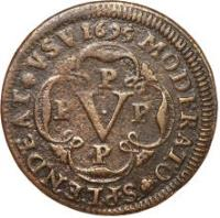 reverse of 5 Réis - Pedro II (1695 - 1696) coin with KM# 3 from Angola. Inscription: MODERATO SPLENDEAT VSV · 1696 · P P V P P