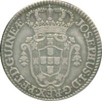 obverse of 6 Macutas - José I (1762 - 1770) coin with KM# 15 from Angola. Inscription: JOSEPHUS · I · D · G · REX · P · ET · D · GUINEAE ·