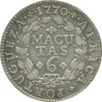 reverse of 6 Macutas - José I (1762 - 1770) coin with KM# 15 from Angola. Inscription: AFRICA · PORTUGUEZA · 1770 MACUTAS 6