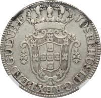 obverse of 12 Macutas - José I (1762 - 1770) coin with KM# 18 from Angola. Inscription: JOSEPHUS · I · D · G · REX · P · ET · D · GUINEAE ·