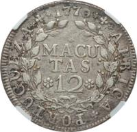 reverse of 12 Macutas - José I (1762 - 1770) coin with KM# 18 from Angola. Inscription: AFRICA · PORTUGUEZA · 1770 MACUTAS 12