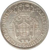 obverse of 4 Macutas - Maria I & Pedro III (1783 - 1784) coin with KM# 22 from Angola. Inscription: MARIA · I · E · PETRUS · III · D · G · REGENTES · · P · E · D · GUINEƷ