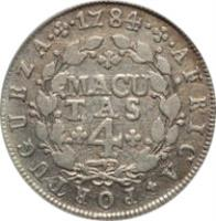 reverse of 4 Macutas - Maria I & Pedro III (1783 - 1784) coin with KM# 22 from Angola. Inscription: AFRICA · PORTUGUEZA · 1784 MACUTAS 4