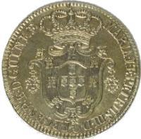 obverse of 12 Macutas - Maria I & Pedro III (1783) coin with KM# 25 from Angola. Inscription: MARIA · I · E · PETRUS · III · D · G · REGENTES · · P · E · D · GUINEƷ