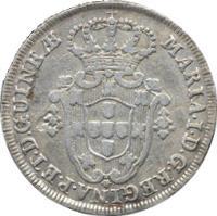 obverse of 6 Macutas - Maria I (1789 - 1796) coin with KM# 33 from Angola. Inscription: MARIA · I · D · G · REGINAE · PORT · ET · D · GUINEƷ