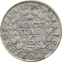 reverse of 6 Macutas - Maria I (1789 - 1796) coin with KM# 33 from Angola. Inscription: AFRICA · PORTUGUEZA · 1796 MACUTAS 6