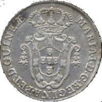 obverse of 8 Macutas - Maria I (1789 - 1796) coin with KM# 34 from Angola. Inscription: MARIA · I · D · G · REGINAE · P · ET · D · GUINEƷ