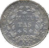 reverse of 8 Macutas - Maria I (1789 - 1796) coin with KM# 34 from Angola. Inscription: AFRICA · PORTUGUEZA · 1796 MACUTAS 8