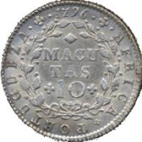 reverse of 10 Macutas - Maria I (1796) coin with KM# 36 from Angola. Inscription: AFRICA · PORTUGUEZA · 1796 MACUTAS 10