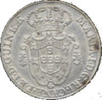 obverse of 12 Macutas - Maria I (1789 - 1796) coin with KM# 37 from Angola. Inscription: MARIA · I · D · G · REGINAE · PORT · ET · D · GUINEƷ