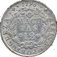 reverse of 12 Macutas - Maria I (1789 - 1796) coin with KM# 37 from Angola. Inscription: AFRICA · PORTUGUEZA · 1796 MACUTAS 12