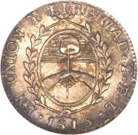 obverse of 1/2 Sol (1815) coin with KM# 10 from Argentina.