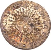 reverse of 1/2 Sol (1815) coin with KM# 10 from Argentina.