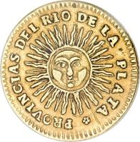 reverse of 2 Escudos (1824 - 1826) coin with KM# 19 from Argentina.