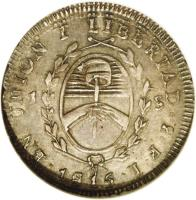 reverse of 1 Sol (1815) coin with KM# 11 from Argentina.