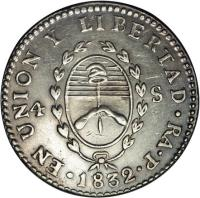 obverse of 4 Soles (1828 - 1829) coin with KM# 22 from Argentina.