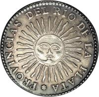 reverse of 4 Soles (1828 - 1829) coin with KM# 22 from Argentina.