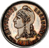 obverse of 40 Centavos Fuertes (1879) coin with KM# E4 from Argentina. Inscription: REPUBLICA ARGENTINA. LIBERTAD ESSAI. 1879. C.WURDEN