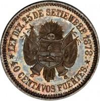 reverse of 40 Centavos Fuertes (1879) coin with KM# E4 from Argentina. Inscription: LEY DEL 25 DE SETIEMBRE 1878. 40 CENTAVOS FUERTES.