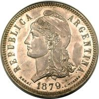 obverse of 1 Patacón (1879) coin with KM# E6 from Argentina. Inscription: REPUBLICA ARGENTINA ESSAI. 1879. C.WURDEN