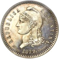 obverse of 80 Centavos Fuertes (1879) coin with KM# E5 from Argentina. Inscription: REPUBLICA ARGENTINA. ESSAI. 1879. C.WURDEN