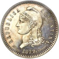 obverse of 80 Centavos Fuertes (1879) coin with KM# E5 from Argentina. Inscription: REPUBLICA ARGENTINA. ESSAI. 1879. C.WURDEN