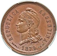 obverse of 40 Centavos Fuertes (1879) coin with KM# E4a from Argentina. Inscription: REPUBLICA ARGENTINA. ESSAI. 1879. C.WURDEN