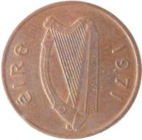 obverse of 1/2 Pingin (1971 - 1986) coin with KM# 19 from Ireland. Inscription: éIRe 1971