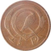 reverse of 1/2 Pingin (1971 - 1986) coin with KM# 19 from Ireland. Inscription: 1/2 P