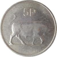 reverse of 5 Pingin - Larger (1969 - 1990) coin with KM# 22 from Ireland. Inscription: 5p
