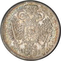 reverse of 1 Speciestaler - Karl VI - Hall mint (1729) coin with KM# 1629 from Austria. Inscription: ARCHID · AUST · DUX · BU · COM · TYROL · 1729