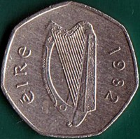 obverse of 50 Pingin (1970 - 2000) coin with KM# 24 from Ireland. Inscription: éIRe 1979