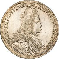obverse of 1 Speciestaler - Karl VI - Hall mint (1714 - 1718) coin with KM# 1570 from Austria.