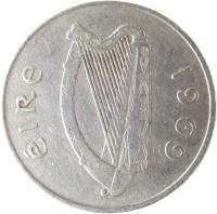 obverse of 10 Pingin - Larger (1969 - 1986) coin with KM# 23 from Ireland. Inscription: éIRe 1969