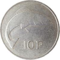 reverse of 10 Pingin - Larger (1969 - 1986) coin with KM# 23 from Ireland. Inscription: 10P