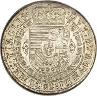 reverse of 1 Speciestaler - Leopold - Hall mint (1626 - 1632) coin with KM# 629 from Austria.