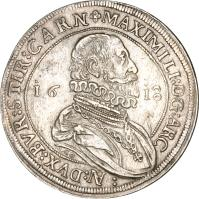 obverse of 1 Speciestaler - Maximilian - Hall mint (1618) coin with KM# 227 from Austria.