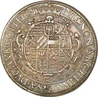 reverse of 2 Speciestaler - Rudolf II - Hall mint (1604) coin with KM# 57 from Austria.