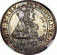 obverse of 1/10 Thaler - Leopold I - Hall mint (1667) coin with KM# 1248 from Austria.
