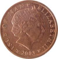obverse of 1 Penny - Elizabeth II - 4'th Portrait (2000 - 2003) coin with KM# 1036 from Isle of Man. Inscription: ISLE OF MAN ELIZABETH II 2002