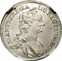 obverse of 3 Kreuzer - Maria Theresa - Vienna mint (1742 - 1745) coin with KM# 1691 from Austria. Inscription: MAR.THERESIA D:G REG.HUNG.BOH