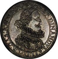 obverse of 1 Speciestaler - Ferdinand II - Graz mint (1623) coin with KM# 452 from Austria. Inscription: FERDINANDVS II:D:G:I:R:O:I:S:A:G:H:B:REX