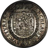 reverse of 1 Speciestaler - Ferdinand II - Graz mint (1623) coin with KM# 452 from Austria. Inscription: ARCHI:AVST:DVX: :BVR:STYRIAE:ETC.