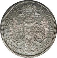 reverse of 1 Speciestaler - Karl VI - Hall mint (1730 - 1738) coin with KM# 1639 from Austria. Inscription: ARCHID · AUST · DUX BU · COM · TYROL ·