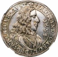 obverse of 1/2 Taler - Ferdinand Karl - Hall mint (1654) coin with KM# 983 from Austria.
