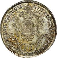 reverse of 10 Kreuzer - Franz II (1814 - 1815) coin with KM# 2132 from Austria.