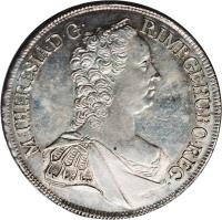 obverse of 1 Thaler - Maria Theresa - Mining Thaler - Vienna mint (1758 - 1765) coin with KM# 1823 from Austria. Inscription: M · THERESIA · D · G · R · IMP · GE · HU · BO · REG ·