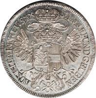 reverse of 1 Thaler - Maria Theresa - Mining Thaler - Vienna mint (1758 - 1765) coin with KM# 1823 from Austria. Inscription: S · ANN · FUND GRUBEN - AUSB · THA · IN · N · OE ·