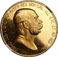 obverse of 100 Corona - Franz Joseph I - Reign (1908) coin with KM# 2812 from Austria. Inscription: FRANC · IOS · I · D · G · IMP · AVSTR · REX BOH · GAL · ILL · ETC · ET AP · REX HUNG ·