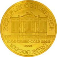 reverse of 100 000 Euro - Vienna Philharmonic (2004) coin with KM# 3123 from Austria. Inscription: REPUBLIK OSTERREICH 1000 UNZEN GOLD 999.9 2004 100000 EURO